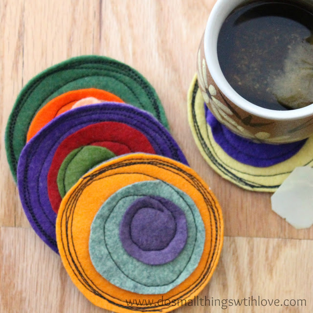 Crazy Felt Coasters by Do Small Things With Love | One of a HUGE collection of DIY Drink Coasters over at thinkingcloset.com.  Such great gift ideas!