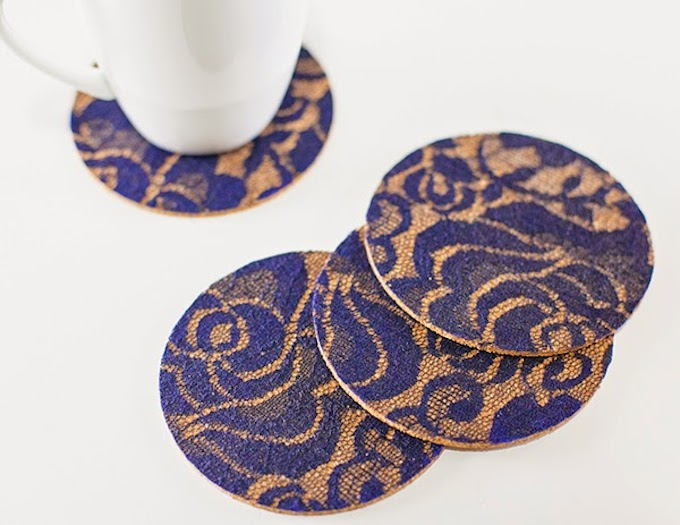 Lacy & Sophisticated DIY Coasters by Mod Podge Rocks | One of a HUGE collection of DIY Drink Coasters over at thinkingcloset.com.  Such great gift ideas!