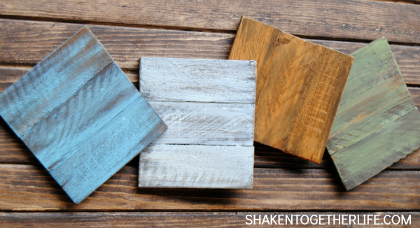 Painted Wooden Coasters {made from cedar shims} by Shaken Together | One of a HUGE collection of DIY Drink Coasters over at thinkingcloset.com.  Such great gift ideas!