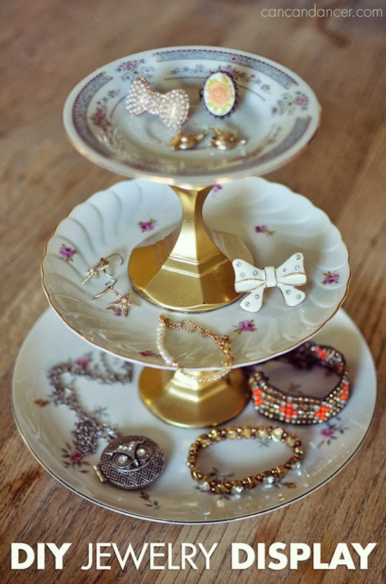 DIY Tiered Plate Jewelry Display: 1 of 10 Inspiring DIY Jewelry Displays at thinkingcloset.com. Don't you love it when organization can simultaneously inspire?