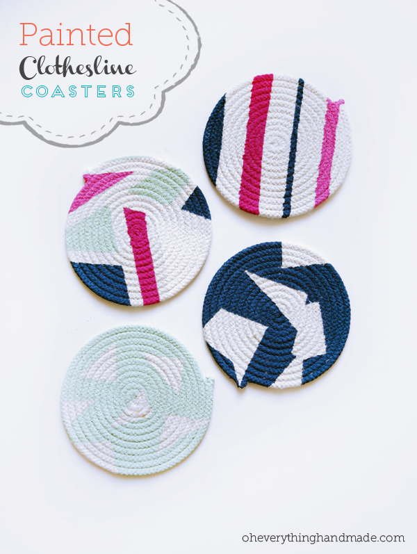 Painted Clothesline Coasters by Oh Everything Handmade | One of a HUGE collection of DIY Drink Coasters over at thinkingcloset.com.  Such great gift ideas!