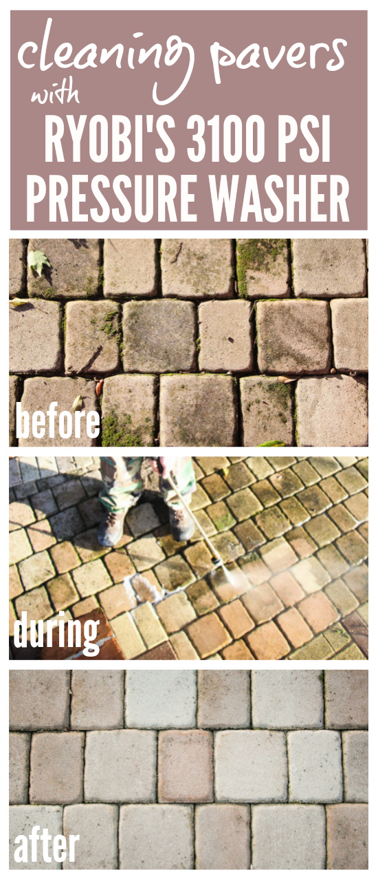 "Cleaning Concrete Pavers with RYOBI's 3100 PSI Pressure Washer | Incredible before, during, and after shots of concrete pavers getting a new lease on life thanks to this pressure washer. No wonder it has been dubbed ""The Miracle Maker.""  Post includes 3 videos of the pressure washer in action!  Astounding results!"