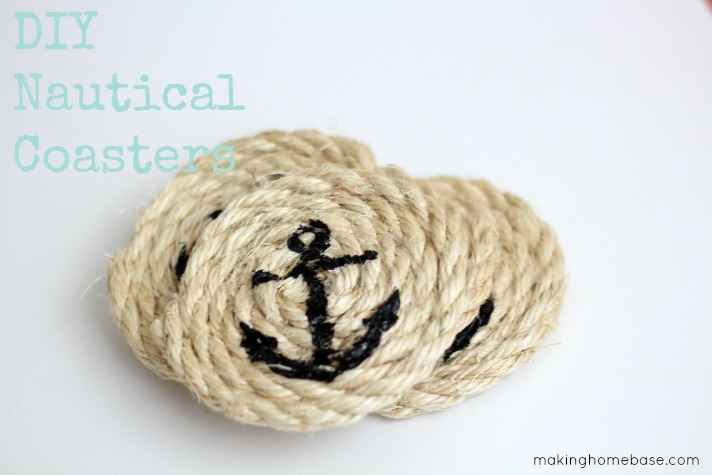 DIY Nautical Sisal Rope Coasters by Making Home Base | One of a HUGE collection of DIY Drink Coasters over at thinkingcloset.com.  Such great gift ideas!