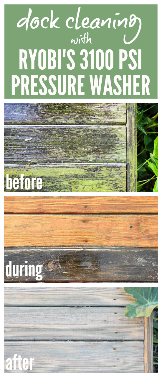 "Dock Cleaning with RYOBI's 3100 PSI Pressure Washer | Incredible before, during, and after shots of the dock getting a new lease on life thanks to this pressure washer. No wonder it has been dubbed ""The Miracle Maker.""  Post includes 3 videos of the pressure washer in action!  Astounding results!"