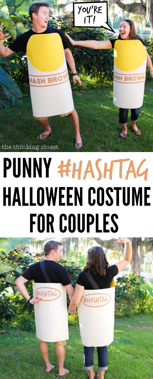 Punny #Hashtag Halloween Costume for Couples | Full tutorial and FREE Silhouette cut file for creating your own punny, word-play costume for Halloween this year; perfect for a couple or dynamic duo! Guaranteed to get a laugh or at least a groan at your Halloween party!
