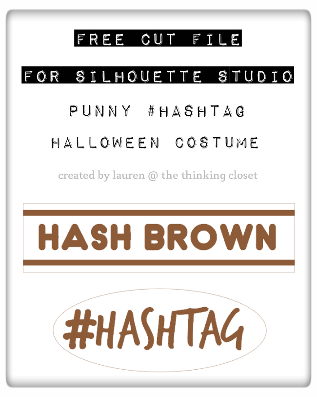 FREE Silhouette Studio Cut File: Punny #Hashtag Halloween Costume | Full tutorial for how to create your own punny, word-play costume for Halloween this year; perfect for a couple or dynamic duo! Guaranteed to get a laugh or at least a groan.