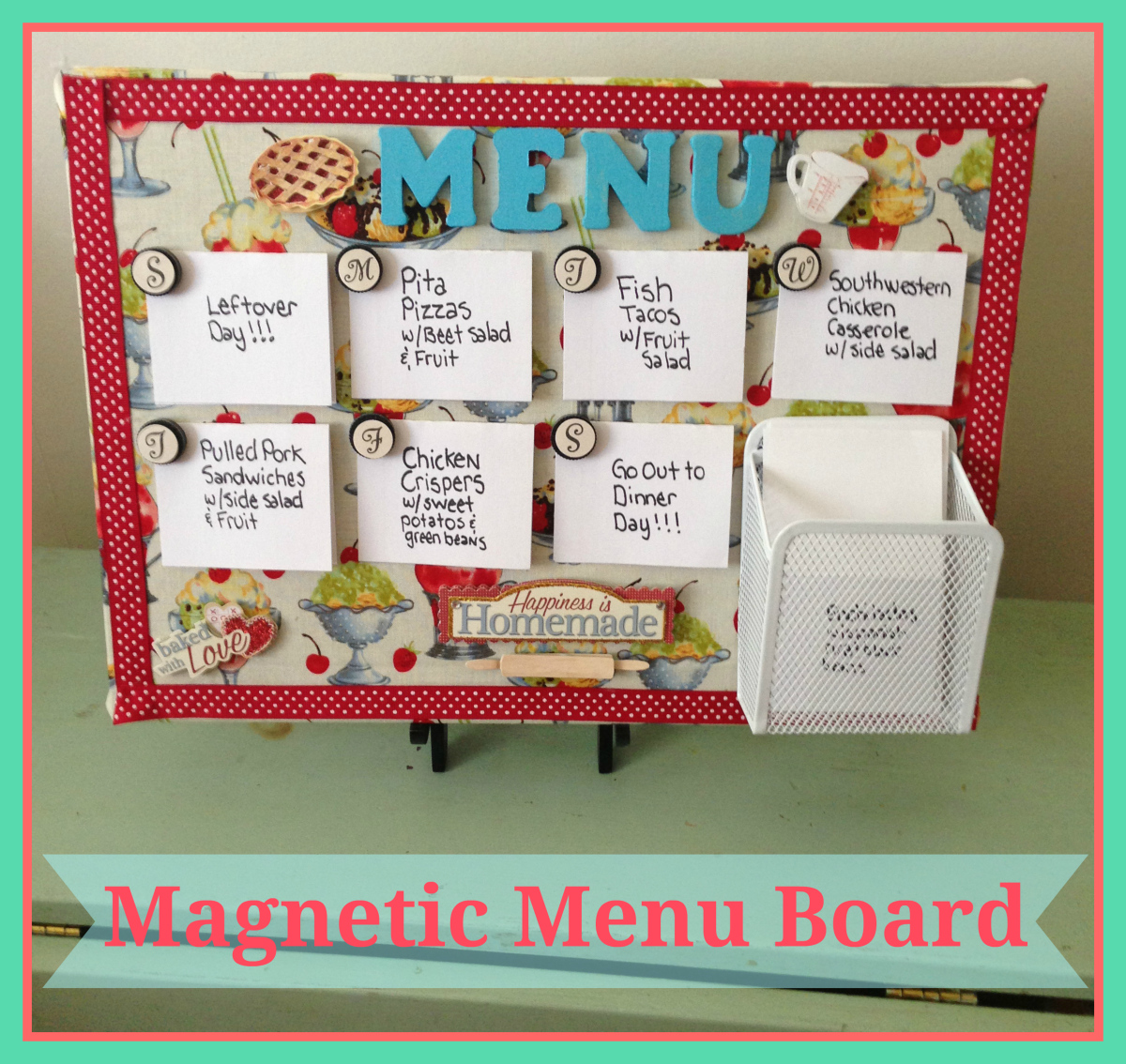Magnetic Menu Board by Nifty Betty, Featured in The Thinking Closet's Summer 2014 Reader Showcase.