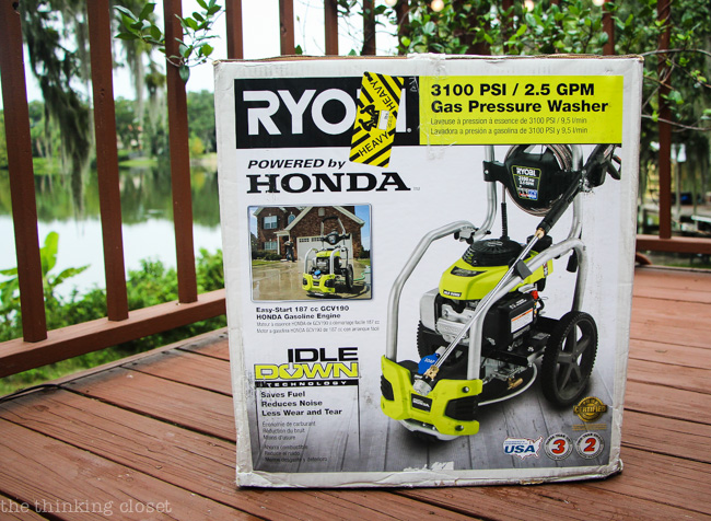 RYOBI's 3100 PSI Pressure Washer as it arrived in the box.  Mark was like a little boy on Christmas morn!
