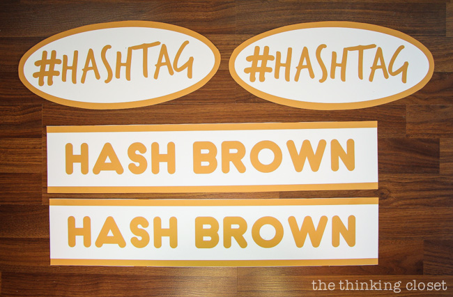 All 4 completed vinyl labels for our Punny #Hashtag Halloween Costume for Couples.  Full tutorial & FREE Silhouette cut file via thinkingcloset.com