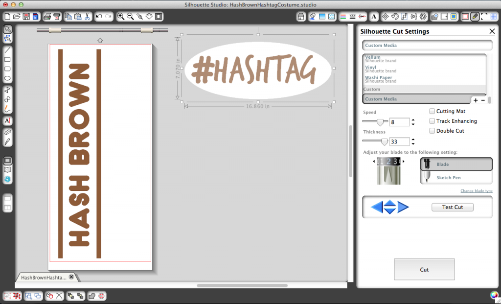 Preparing to cut my #Hashtag & Hash Brown designs on my Silhouette machine.