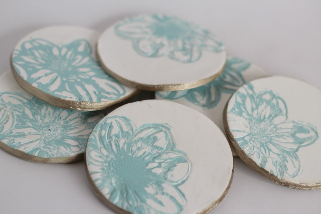 Imprinted Clay Coasters by Sparkle Living | One of a HUGE collection of DIY Drink Coasters over at thinkingcloset.com.  Such great gift ideas!