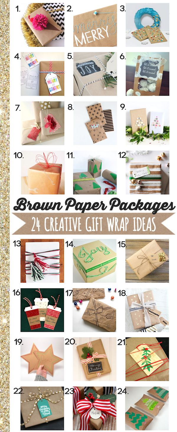 Brown Paper Packages - 24 Creative Gift Wrap Ideas | A slew of inspiration for how to dress up your packages this Christmas using brown paper packages, gift tags, and more.