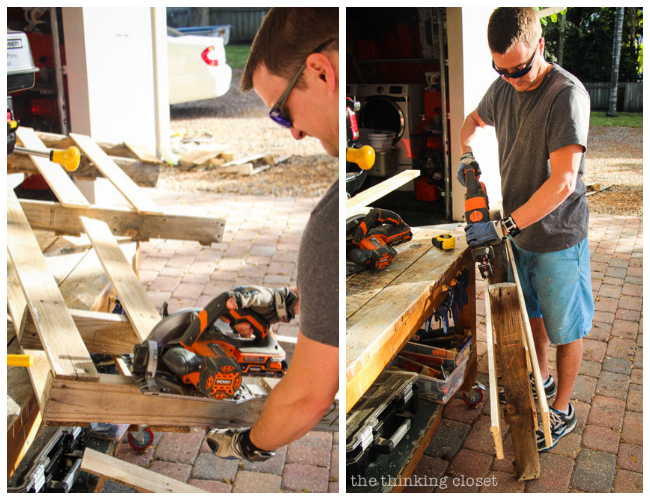 Mark using his RIGID power tools to disassemble a pallet of wood.