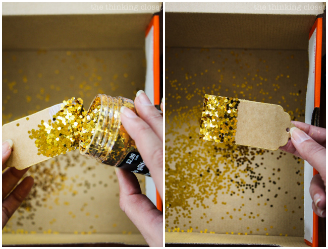 Time to glitter-fy! How to create your own Glitter-Dipped Gift Tags! A simple step by step tutorial that will inspire you to dress up your gift wrap in simple yet impactful ways this holiday season.