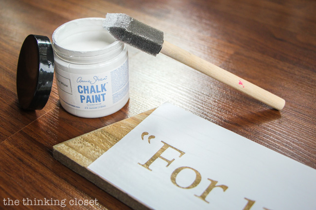 Painting the stenciled text for my Rustic Pallet Christmas Tree.