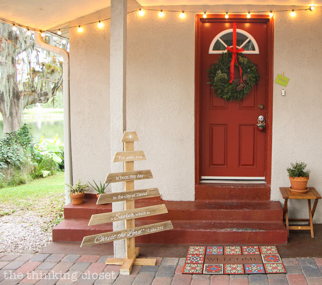 DIY Rustic Pallet Christmas Tree | A do-able step-by-step tutorial for creating your own Rustic Christmas Tree out of pallet wood and embellished using your Silhouette machine.  FREE cut file included!