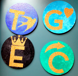 Initialed Cork Coasters by Two Puzzle Pieces, Featured in The Thinking Closet's Fall 2014 Reader Showcase.