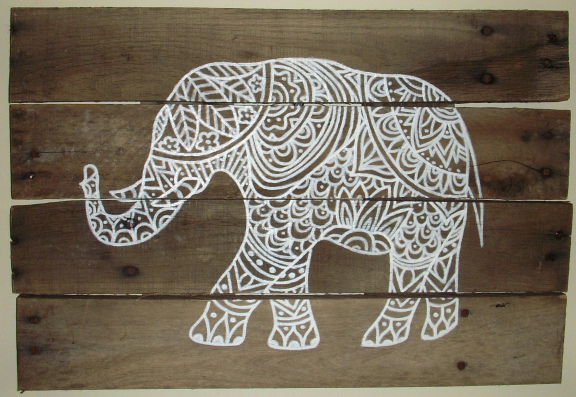 Elephant Pallet Sign by Sydney Thomas, Featured in The Thinking Closet's Fall 2014 Reader Showcase.