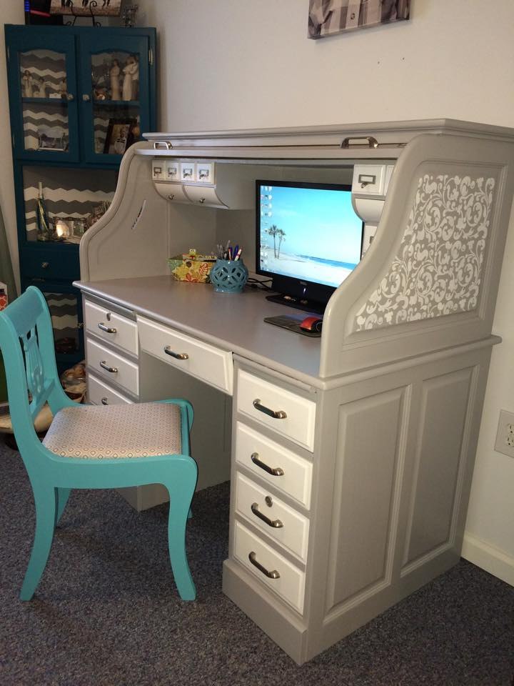 Roll-Top Desk Makeover by Jessica, Featured in The Thinking Closet's Fall 2014 Reader Showcase.