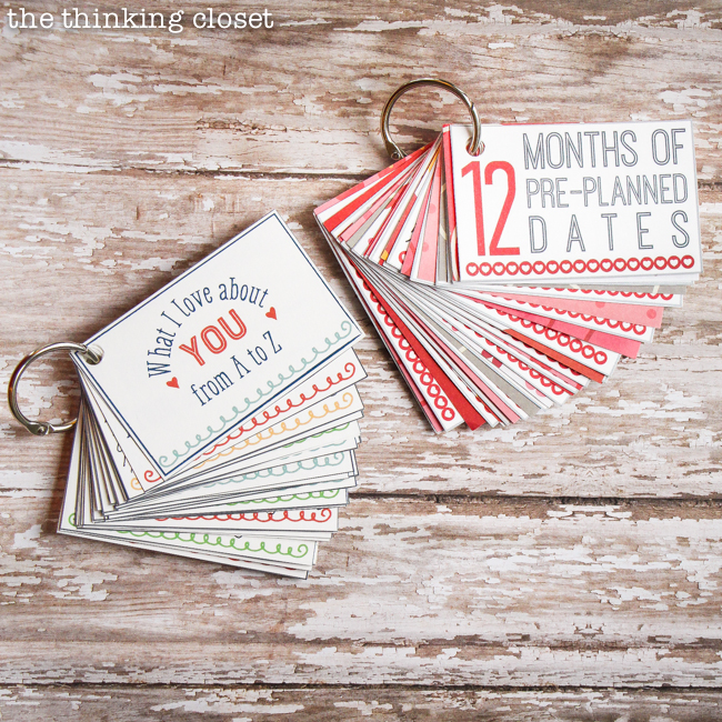 "Mini-Book Madness!  (The best kind.)  Be sure to check out both the ""What I Love About You from A to Z"" mini-book and the ""12 Months of Pre-Planned Dates"" mini-book for some meaningful gifts that happen to be quick and easy to put together (and inexpensive!)."