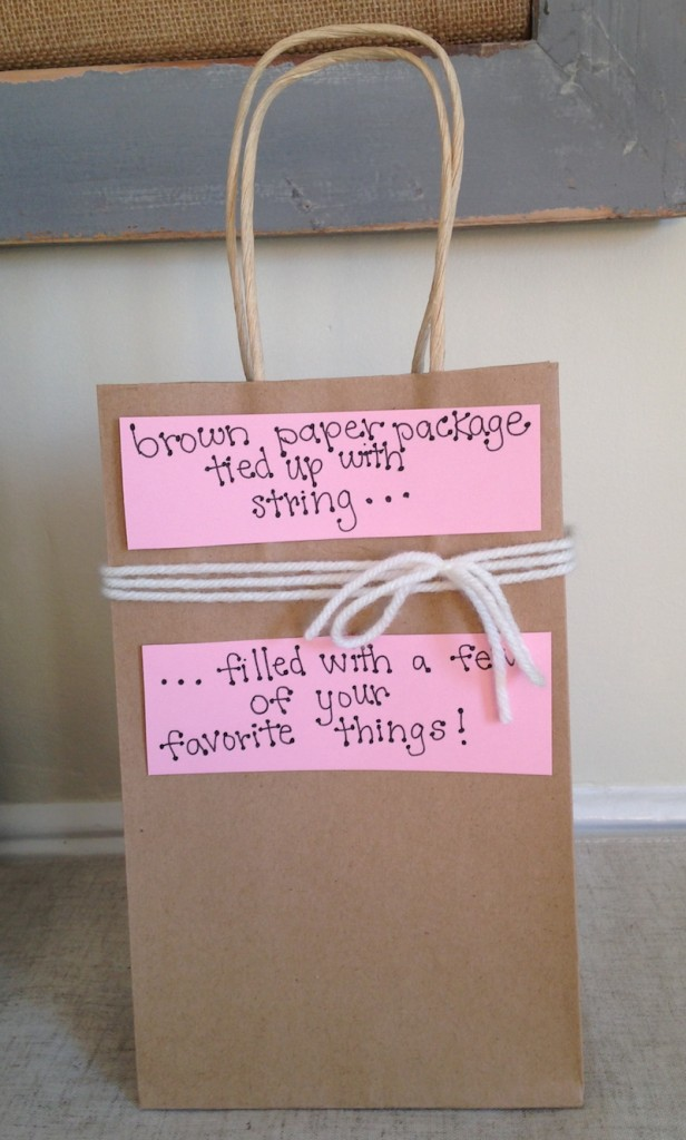 Brown Paper Package Tied Up With String For Valentines Day
