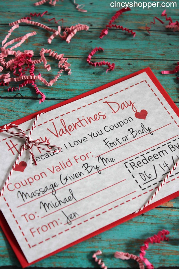 Printable Coupon Card for Valentine's Day | One of 30 Last-Minute DIY Gifts for Your Valentine over at the thinking closet!