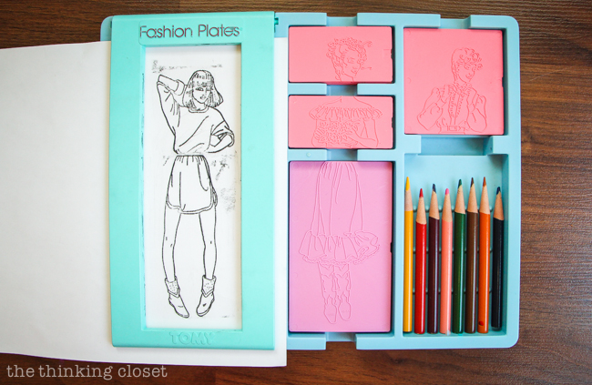 "My original Fashion Plate set from the 1980s in action!  Oh how I loved this ""toy."""