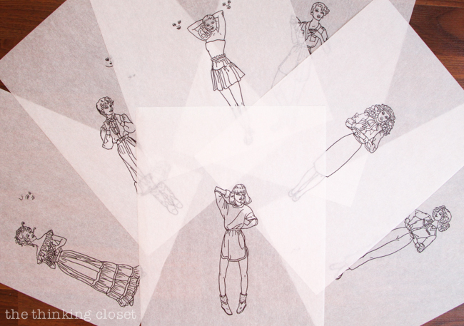7 traced fashion plate designs, ready to be scanned.