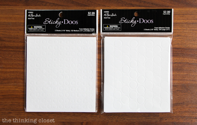 White round foam dots - - to add dimension to card sentiments.