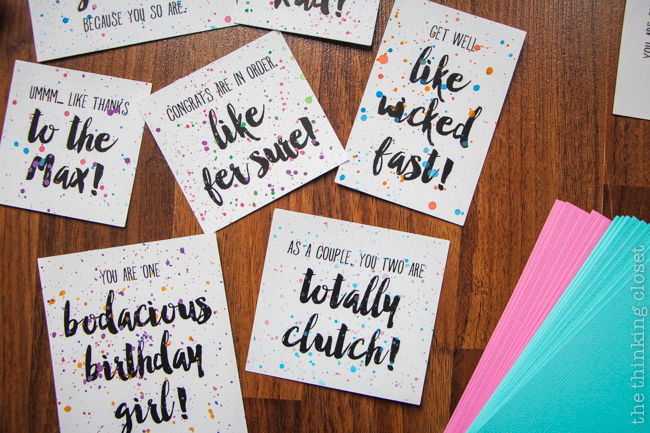 Splatter painted card sentiments...so 1980s!