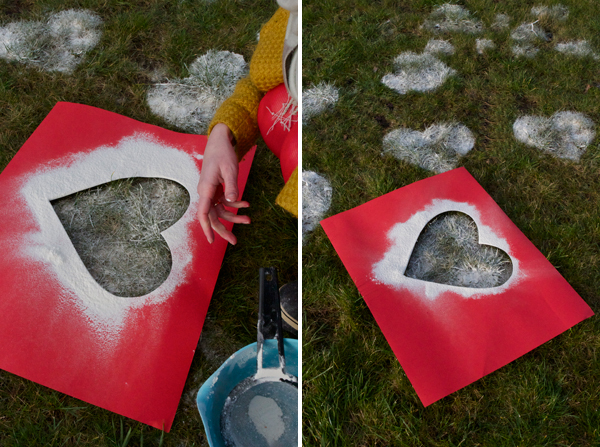 Front Lawn Flour Hearts | One of 30 Last-Minute DIY Gifts for Your Valentine over at the thinking closet!