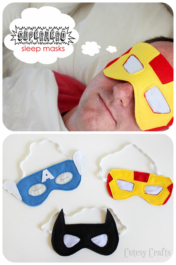 Superhero Sleep Masks | One of 30 Last-Minute DIY Gifts for Your Valentine over at the thinking closet!