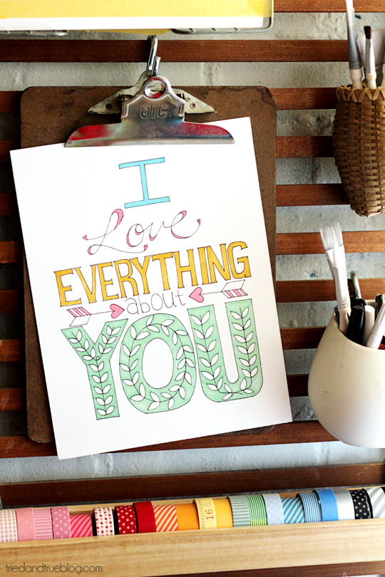 """I Love Everything About You"" Coloring Print 