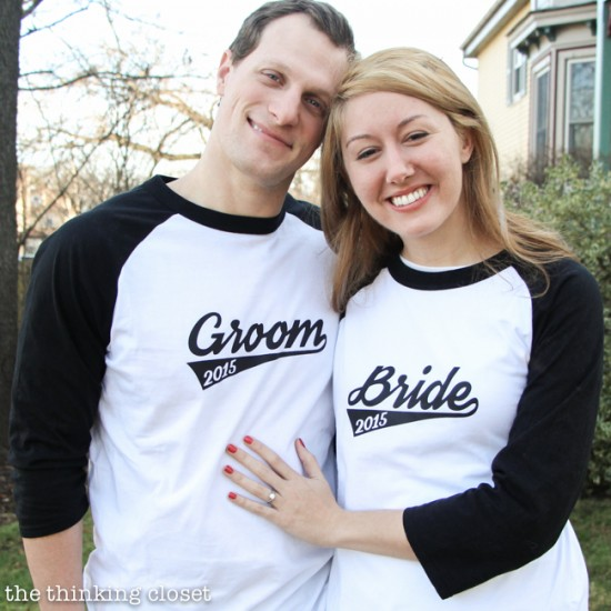 Bride & Groom Baseball T-Shirts with Free Cut File | Such a creative engagement or wedding gift idea...so fitting as two become one team! Silhouette tutorial includes FREE