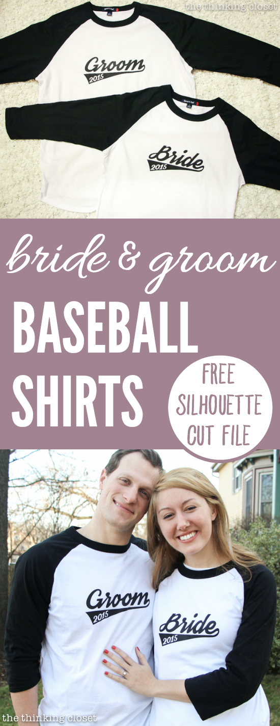 Bride & Groom Baseball T-Shirts with Free Cut File | Such a creative engagement or wedding gift idea...so fitting as two become one team! Silhouette tutorial includes FREE cut file to make this project easy peasy with a Silhouette machine and some heat transfer vinyl. So, what are you waiting for? This is a gift the recipients will treasure for always.