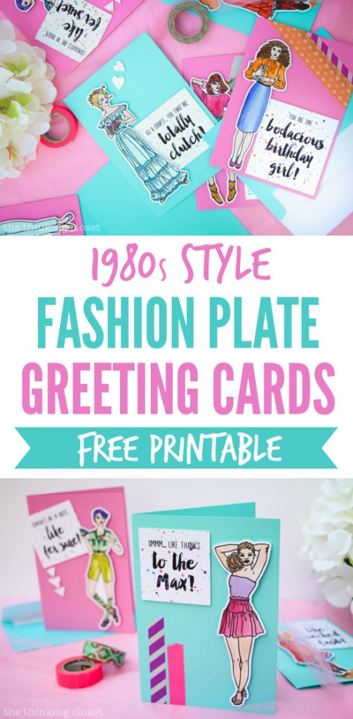 Fashion Plate Greeting Cards: A Fun Retro-Inspired Craft Project for anyone who grew up in the 1980s or 1990s - - and this step by step tutorial includes a free printable and cut file so you can make your own and relive your youth! These fab cards are guaranteed to bring a smile (and wash of nostalgia) to your recipient. Like totally! Fer sure! {Smile.}