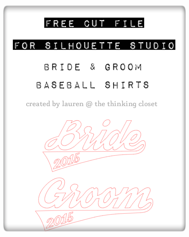 Bride & Groom Baseball Shirt Design: FREE Cut File by Lauren from The Thinking Closet | Such a fun and creative engagement or wedding gift idea...one they will treasure for always!