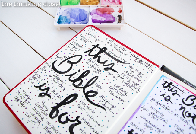 Welcome to My Journaling Bible: heART in the margins | Here's a closer look at my permission pages! Check out the full post for the inside scoop Q & A style about this new movement sweeping the margins of Bibles everywhere...and how you can use art to engage with scripture in a new and exciting way!