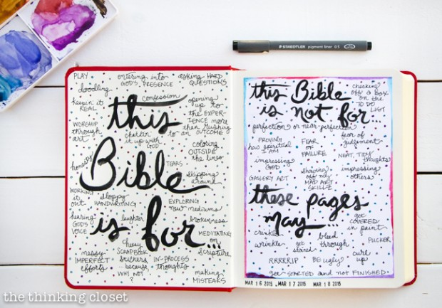 "Permission Pages: A Perfectionist's Approach to the Journaling Bible | Determined not to let my perfectionism get the best of me, I began the first pages of my new Journaling Bible with a set of what I call ""Permission Pages"" where I outline what this Bible is for and what it is not for. I even provide a disclaimer about what *may happen to these pages (spoiler: they won't stay ""neat""). And with this bold decree under my belt, I can now venture forth to pour out my heART in the margins with the kind of artistic freedom every creative act should possess. Here's my story and my tips for other perfectionists about to begin their Journaling Bible journey!"