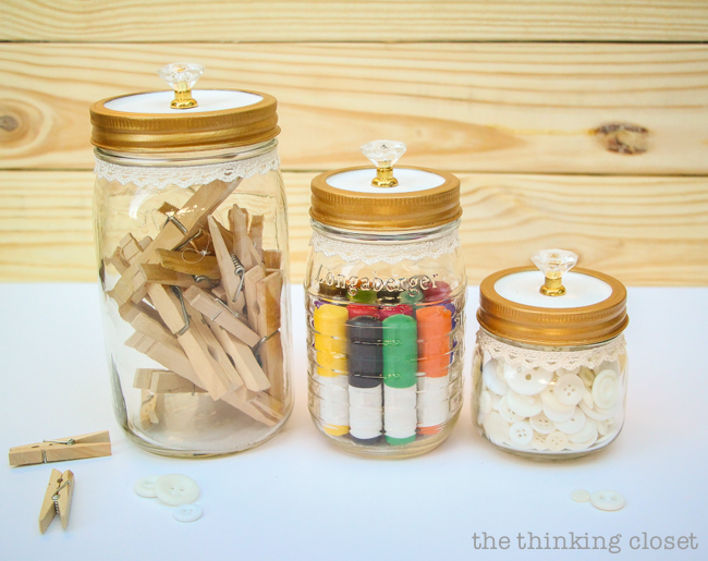 Fancy Dancy Mason Jar Upcycle for Swap It Like It's Hot!     Watch what happens when bloggers send each other thrifted finds and exercise their DIY powers!  I got a trinket box with pretty knobs and transformed it into pretty craft supply storage. Tutorial includes links to all of the bloggers in Swap It Like It's Hot 3.0, so check out the wealth of inspiration.  You'll never look at a thrifted find the same way again.