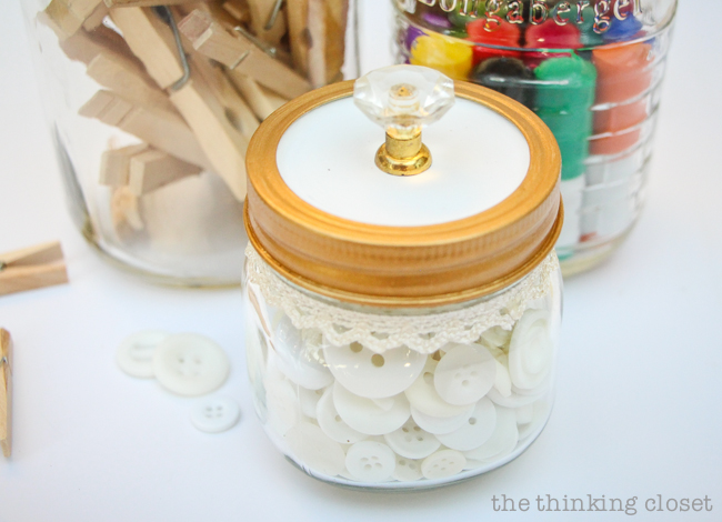 Fancy Dancy Mason Jar Upcycle for Swap It Like It's Hot!  |  Watch what happens when bloggers send each other thrifted finds and exercise their DIY powers!  I got a trinket box with pretty knobs and transformed it into pretty craft supply storage. Tutorial includes links to all of the bloggers in Swap It Like It's Hot 3.0, so check out the wealth of inspiration.  You'll never look at a thrifted find the same way again.