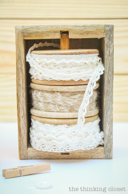 Swap It Like Its Hot: Fancy Dancy Mason Jar Upcycle - My spools of lace and twine were exactly what I needed for adding an embellishment to my jar!