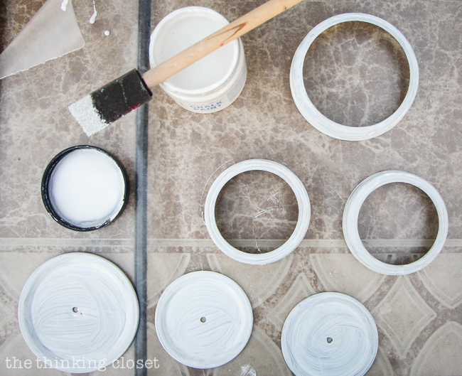 Swap It Like Its Hot: Fancy Dancy Mason Jar Upcycle     Painting my lids with Annie Sloan Chalk Paint in Pure White.  Love how you can just paint right onto metal with this paint!  No primer needed.