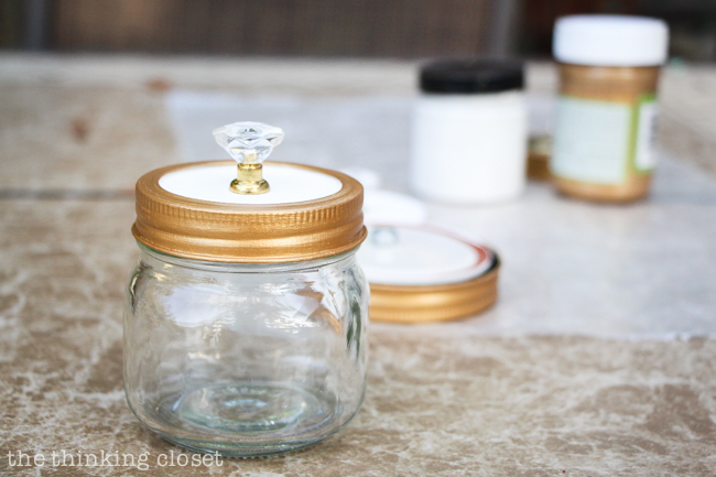 Swap It Like Its Hot: Fancy Dancy Mason Jar Upcycle - The knob and painted lid have been assembled!  And they are looking mighty fine if I do declare.