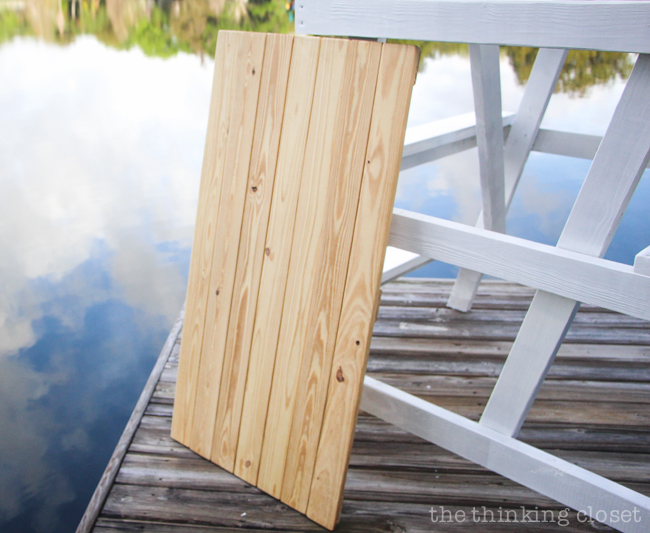 DIY Coastal Wood Plank Photo Backdrop  |  Unpainted pallet ready for its white paint job.