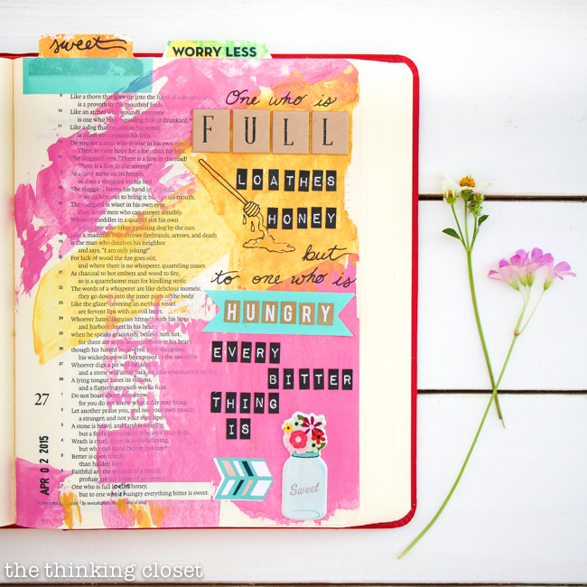 Learning to celebrate mistakes and embrace them as part of the beautiful mess on my Journaling Bible pages. That's growth right there for this recovering perfectionist!