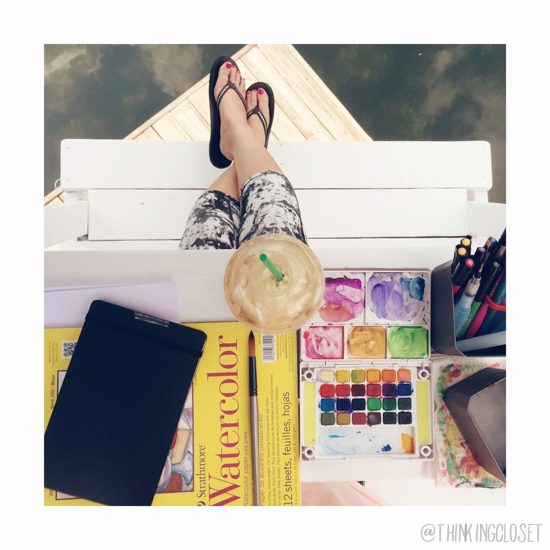 Our dockside Lifeguard Stand is the perfect place to get lost painting with watercolors!  Here's how it inspired my DIY Coastal Wood Plank Photo Backdrop