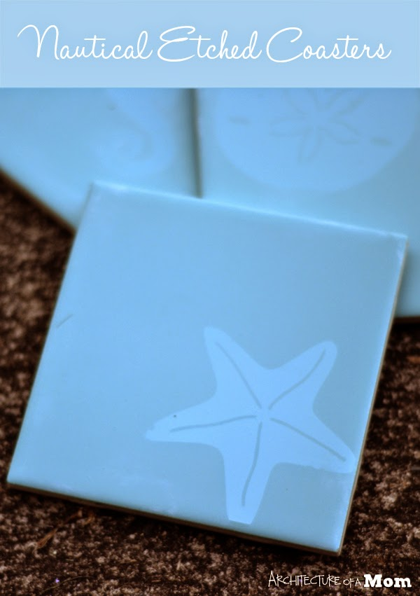Etched smooth glossy glazed tile into Nautical Coasters by Architecture of a Mom