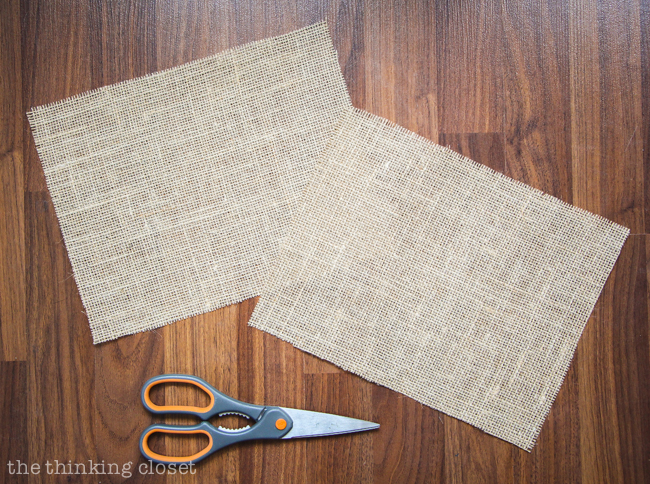 Pre-measuring and cutting my burlap squares.