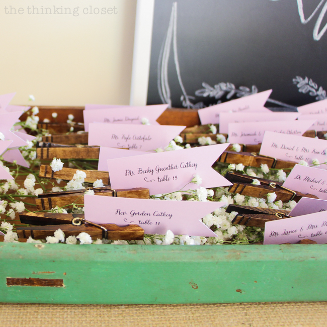Wedding Table Place Card Ideas: DIY Clothespin Place Card Holders For A Rustic Vintage